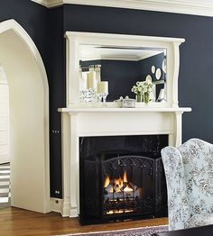 Clean and Classic Look.  Love the built in mirror into the mantel frame