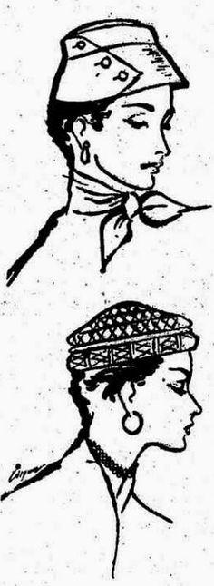 ANOS DOURADOS: IMAGENS & FATOS: FATOS - Moda dos anos 50 e 60: CASACO - AVENTAL - CHAPÉUS - (1953) DOIS MODELOS DE CHAPÉUS FEMININOS DE CLASSE. DEVEM SER USADOS COLOCADOS SOBRE A TESTA E PODEM SER CONFECCIONADOS DE FELTRO, SEDA OU PALHA