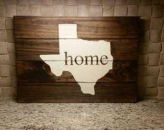 Reclaimed Pallet Wood Wall Decor Art Sign Custom State Distressed Texas Home Housewarming Wedding Birthday Gift