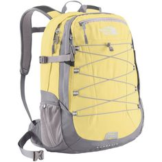 The North Face Backpack, Borealis ($89) ❤ liked on Polyvore featuring bags, backpacks, accessories, stinger yellow, yellow backpack, multi color backpack, backpack laptop bag, padded laptop backpack and the north face