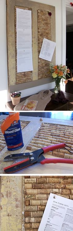 corkboard from door-- This would be a great activity for my Grandma Kay and I!