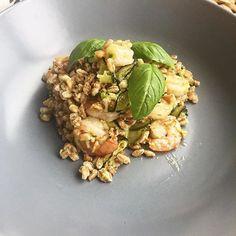 Insalata di farro zucchine gamberetti e pesto handmade