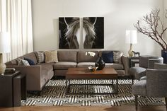 Transitional Rooms: Mitchell Sectional & Pierre Chairs