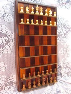 Wall Mounted Chess Set in Reclaimed Cherry