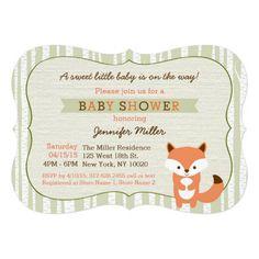 Woodland Fox Birch Tree Baby Shower Invitations