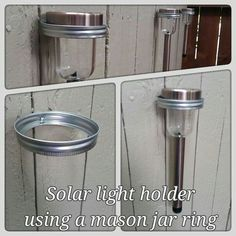 Take a solar stake light add pipe strapclamp screw the strap mason jar rings are used to hold solar lights on backyard fence aloadofball Images