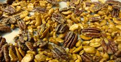 My favorite combination is half pecans, half cashews. You might try almonds or walnuts, too. Just remember to use raw nuts, rather than roasted, to prevent over-toasting.