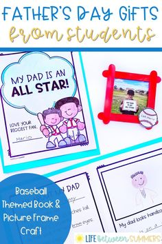 This Father's Day gift is sure to please baseball fans and makes for a special keepsake for the dads of your students. Kids write and illustrate a Father's Day book all about their dads. Students can also make their own baseball-themed picture frames. This Father's Day craft is low prep and easy to make. This popsicle stick picture frame can be made during centers or free time. Your first graders or second graders will love this Father's Day writing activity.