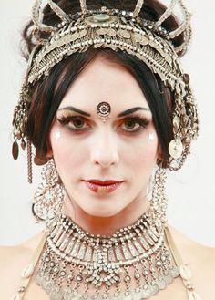 Silver coined headdress