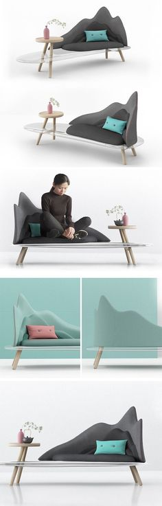 Inspired primarily by the famous Chinese painting, Dwelling in the Fuchun Mountains of Yuan Dynasty, the bold features and spirit of the painting have been modernized and reimagined as a sleek, domestic item of furniture. The point of focus is the visually interesting and truly unique backrest, that has encapsulated the vast size and immense depth of the mountains.