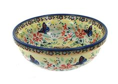 Polish Pottery Blue Butterfly Dessert Bowl ** Check out @