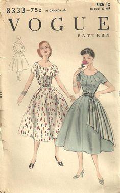 Vintage 50s Sewing Pattern Vogue 8333 Dress by studioGpatterns, $20.50