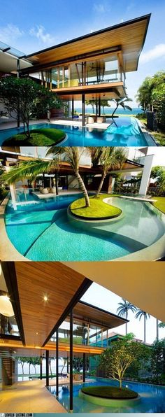 Fantastic pool designs which will make yours the best on the block Could we just rent this place for a week-end or cast party or something? via Lovely Listing. Amazing Architecture, Architecture Design, Dream Pools, House 2, Fish House, Cool Pools, Pool Landscaping, Pool Houses, Pool Designs