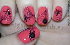Halloween!  I think I'd only do one spider on the ring finger, do jewel tones, and then a glitter nail.