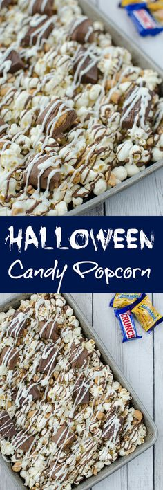 Halloween Candy Popcorn - Halloween Candy Popcorn – the perfect way to use leftover Halloween candy! Popcorn, peanuts, and candy bars with chocolate and whilte chocolate drizzle! Popcorn Recipes, Best Dessert Recipes, Candy Recipes, Fun Desserts, Sweet Recipes, Holiday Recipes, Delicious Desserts, Yummy Food, Gourmet Popcorn