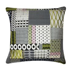 Large Square Patchwork cushion in Neutral/Pastel shades.  Handmade using Margo Selby trademark fabrics.