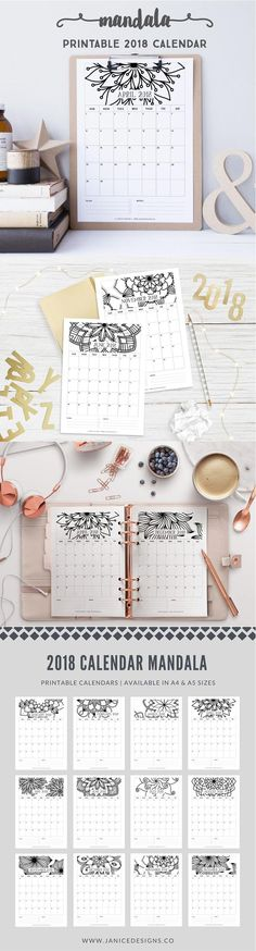 2018 Printable Calendar: Mandala by Margaret Nagle 2018 Calendar Printable Free, Printable Planner, Printables, Calendar 2018 Diy, Diy Kalender, Mandala Printable, Arc Notebook, Bulletins, Calendar Design