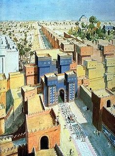 The gates of Babylon with the hanging gardens visible in the background