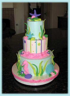 Seahorses and starfish birthday cake.  Trinity said, OH MY GOSH! she loves this cake, so cute!