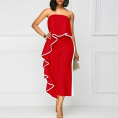 12c4375cb559 LKOUS Women Off Shoulder Strapless Ruffle High Waisted Wide Leg Long  Jumpsuits Romper     Click image to review more details.(It is Amazon  affiliate link)   ...