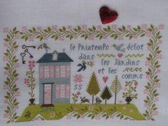 """♥ Margits kleines SchokiStübchen in der Blogwelt ♥: Weihnachtsgeschenk für Sylvia.  L'R de rien """"Les Jardins et les Coeurs""""  Stitched over two on 40 count linen."""
