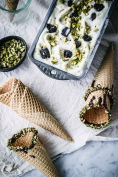 No-Churn Pistachio, Mint + Olive Oil Fudge Brownie Ice Cream