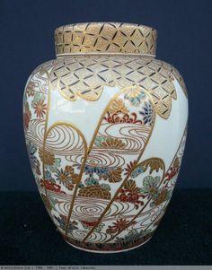 Vase couvert de Satsuma signé Hoshuin Hozan