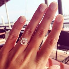 ❤️❤️❤️ MY ACTUAL DREAM RING 3 carat cushion cut stone on a micro-pave setting with a white gold band