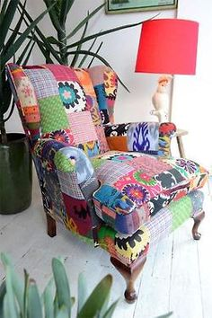 44 ideas patchwork furniture boho armchairs for 2019 12 Outrageous Patchwork Furniture - The sewing loftMake everyday furniture stand out with these creative ideas for patchwork ideas for patchwork furniture ideas for patchwork Funky Furniture, Upcycled Furniture, Unique Furniture, Coaster Furniture, Furniture Ideas, Funky Chairs, Cool Chairs, Lounge Chairs, Chair Upholstery