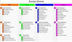 Chore Charts For Teens | ... week chores, including step by step lists for each of those chores