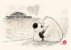 Panda and polar bear love
