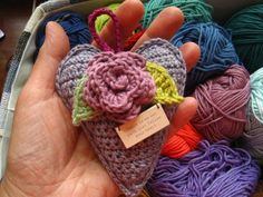 Crochet heart sachet free pattern...links for heart and rose pattern are below second picture
