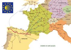 El Camino de Santiago de compostela- the pilgrimage of Saint James through Spain. We're starting from the border of France and Spain this June! Camino Walk, Camino Trail, Camino Routes, Spain Pilgrimage, El Camino Pilgrimage, St Jacques, Destination Voyage, Saint James, Spain And Portugal