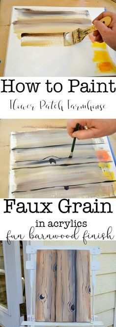 How to Paint faux wood grain in acrylics is easy and super fun. Great for barn w… How to Paint faux wood grain in acrylics is easy and super fun. Great for barn wood back grounds on all sorts of… Continue reading → Painting & Drawing, Painting Lessons, Tole Painting, Painting Tips, Painting On Wood, Wood Paintings, Painting Walls, Beginner Painting, Portrait Paintings