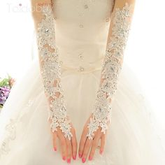 Cheap Wedding Gloves, Lace White Bride Gloves Online for Sale Bride Gloves, Wedding Gloves, Lace Gloves, Bridal Wedding Dresses, Bridal Lace, Gloves Fashion, Beaded Lace, Lace Beading, Look Fashion