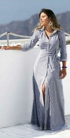 Striped Dresses 2018 Outfits Ideas 43 - Fiveno dress in . - Striped Dresses 2018 Outfits Ideas 43 – Fiveno Plus size dress striped dresse - Dress Outfits, Casual Dresses, Summer Dresses, Dresses Dresses, Long Shirt Outfits, Striped Dress Outfit, Stripe Dress, Emo Outfits, Casual Outfits