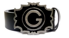Leather belt with buckle, G Personalized Smalt Buckle, Men's Women's Accessory, Strong Cow Leather, Gift for Biker, Rocker, Unisex Belt gift Leather Belt Buckle, Leather Belts, Cow Leather, Primary Colors, Biker, Women Accessories, Strong, Women's Fashion, Unisex