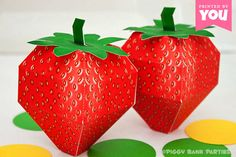 Strawberry Favor Box : DIY Printable Fruit PDF - Instant Download by PiggyBankParties on Etsy https://www.etsy.com/listing/162427728/strawberry-favor-box-diy-printable-fruit