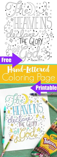 Hand-Lettered Bible Verse Coloring Sheet Printable--Download this and more free Bible colouring pages. Put the Word of God in your child's heart!