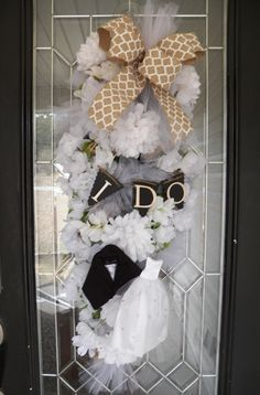 Burlap Wedding Wreath- Bridal Shower Wreath- Bridal Shower Decoration- Wedding Decoration- Burlap Decoration by OccasionsBoutique on Etsy Bridal Shower Wreaths, Wedding Wreaths, Bridal Showers, Wedding Decorations, Burlap Ribbon, Burlap Wreath, Deco Mesh Garland, Wedding Doors, Door Swag
