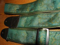 Teal Blue,Olive & Mustard Embroidered Jacquard Guitar Strap,Handcrafted by ScentedSoftandSewn, $31.99