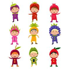 Buy Children in Fruit and Berry Costumes by Top_Vectors on GraphicRiver. Nice kids wearing fruit and berry costumes Vector Illustration Set Fruit Cartoon, Food Cartoon, Cute Cartoon, Fruit Costumes, Baby Corner, Mini Canvas, Hand Illustration, Kawaii, Cute Kids
