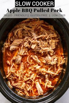 Heat up your slow cooker for this delicious set it and forget it meal! This Slow Cooker Apple BBQ Pork is perfect on a bun, in tacos, or on top of a salad! thetoastedpinenut.com #thetoastedpinenut #pulledpork #slowcookerpulledpork #slowcooker #slowcookerrecipes #crockpot #crockpotrecipes Slow Cooker Apples, Slow Cooker Bbq, Slow Cooker Recipes, Paleo Recipes, Pork Recipes, Free Recipes, Clean Dinner Recipes, Clean Dinners, Clean Eating Dinner