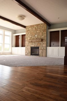 We Love How This Home Combined Cozy Carpet And Functional Hardwood Flooring.  Just In Time For Fall! | Hardwood | Carpet | Flooring | Fireplace |  Interior ...