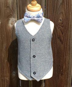 Boys Grey and Navy Herringbone Vest Toddler Gray Formal Wear