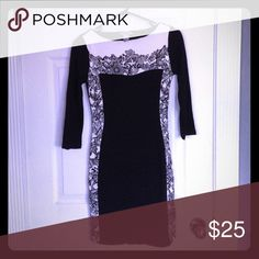 NEW .. H&M black floral dress H&M black and white floral dress ... extremely comfortable and very figure flattering!!! H&M Dresses Long Sleeve