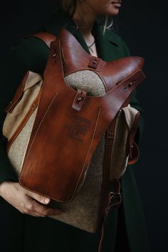 084 backpack, felt and leather