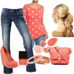"""Coral pink"" by erin-m-heeney on Polyvore"
