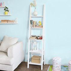 SoBuy Modern ladder bookcase made of wood, book shelf,sta...