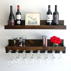 Rustic Wood Wine Rack Wall Mounted Shelf and Hanging Stemware Glass Holders (Beveled) Floating Bar Shelves & Organizer Wine Rack Shelf, Wine Shelves, Wine Rack Wall, Bar Shelves, Wall Mounted Shelves, Shelf Wall, Wall Bar, Hanging Wine Glass Rack, Wine Glass Shelf